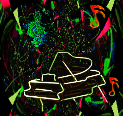 Neon Piano Poster